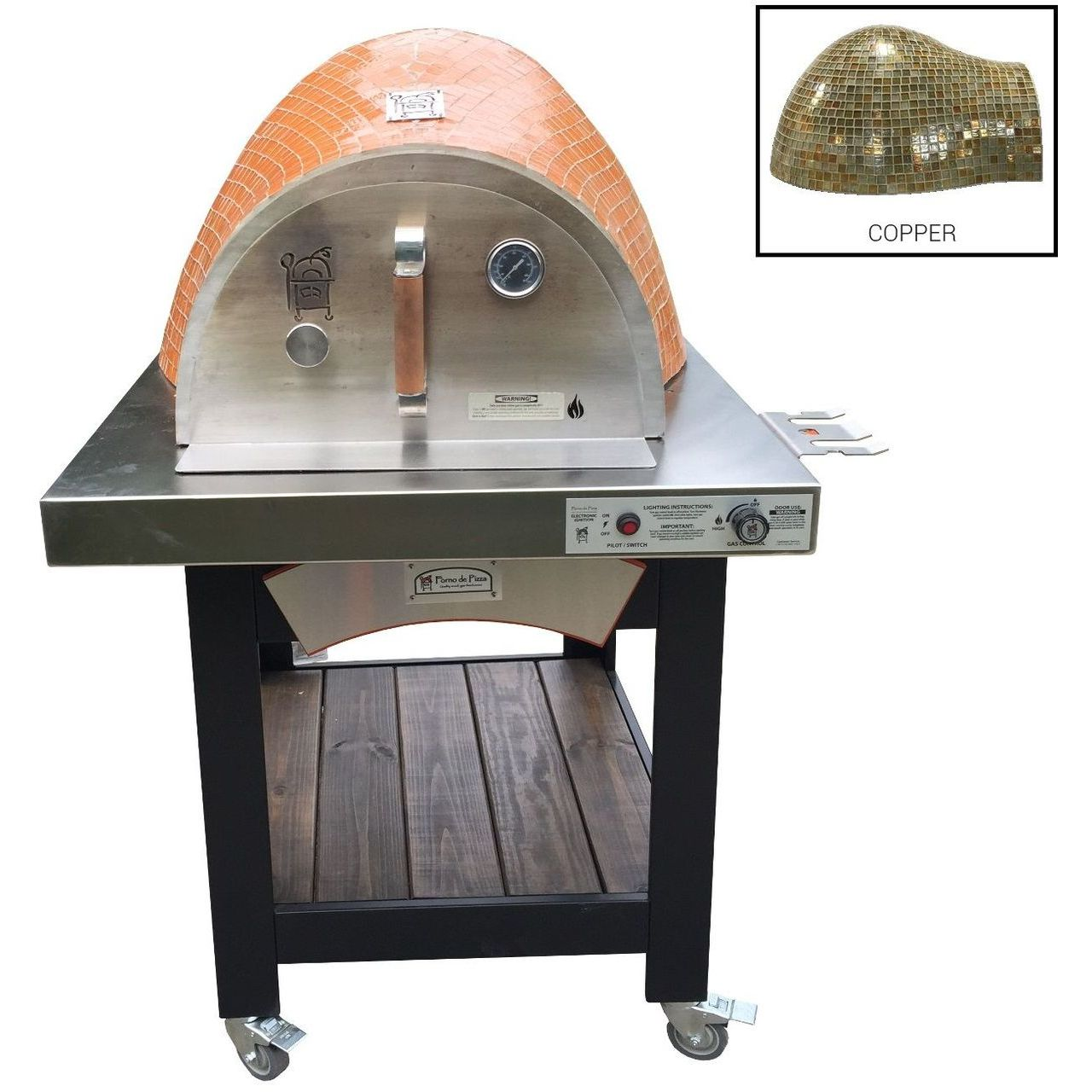 HPC Forno Hybrid Gas/Wood Oven With EI & Cart in Copper - NG