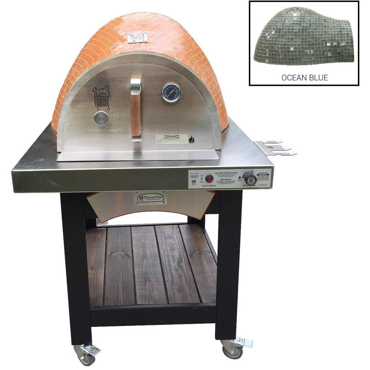 HPC Forno Hybrid Gas/Wood Oven With EI & Cart in Ocean Blue - NG