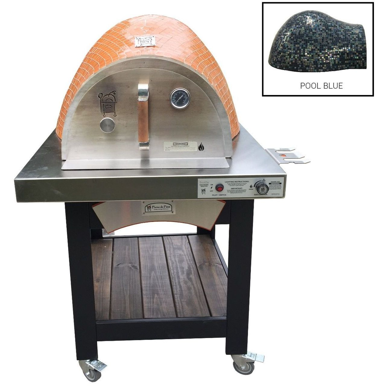 HPC Forno Hybrid Gas/Wood Oven With EI & Cart in Pool Blue - LP