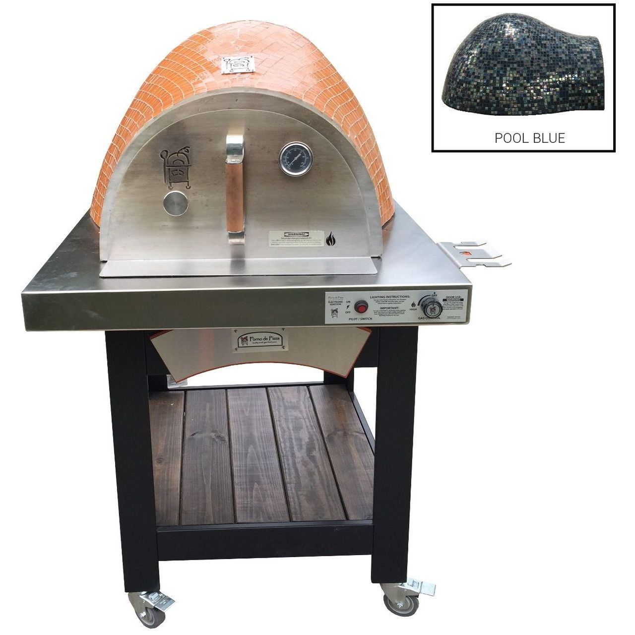 HPC Forno Hybrid Gas/Wood Oven With EI & Cart in Pool Blue - NG