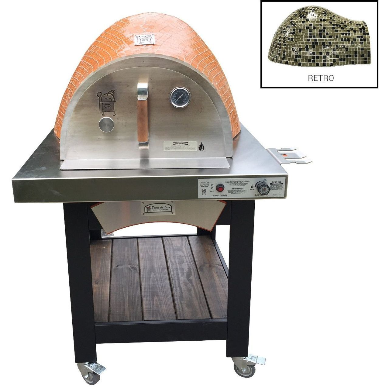 HPC Forno Hybrid Gas/Wood Oven With EI & Cart in Retro - LP