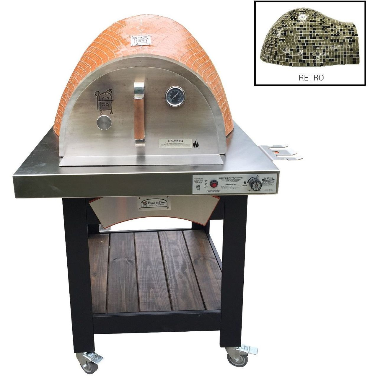 HPC Forno Hybrid Gas/Wood Oven With EI & Cart in Retro - NG