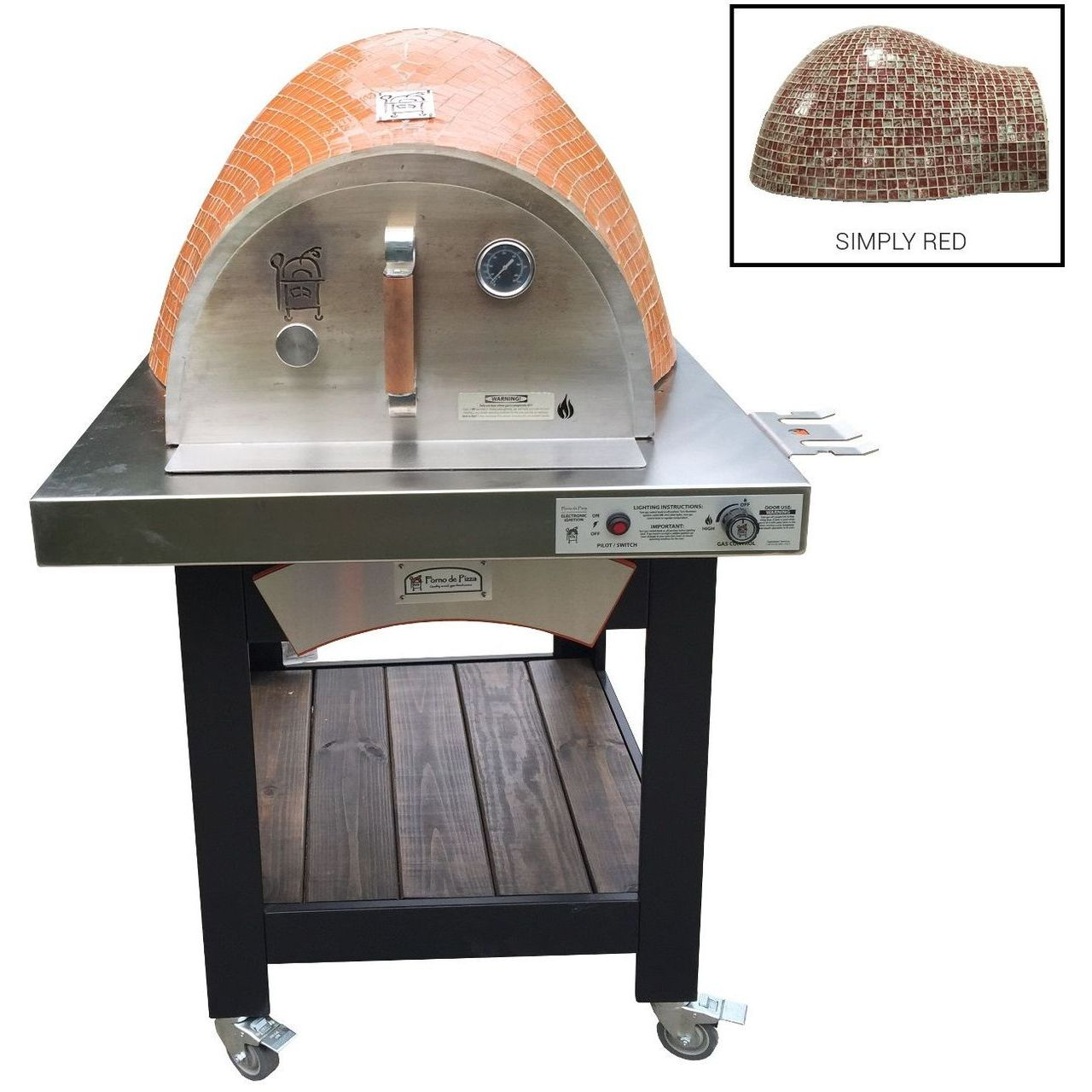 HPC Forno Hybrid Gas/Wood Oven With EI & Cart in Simply Red - LP