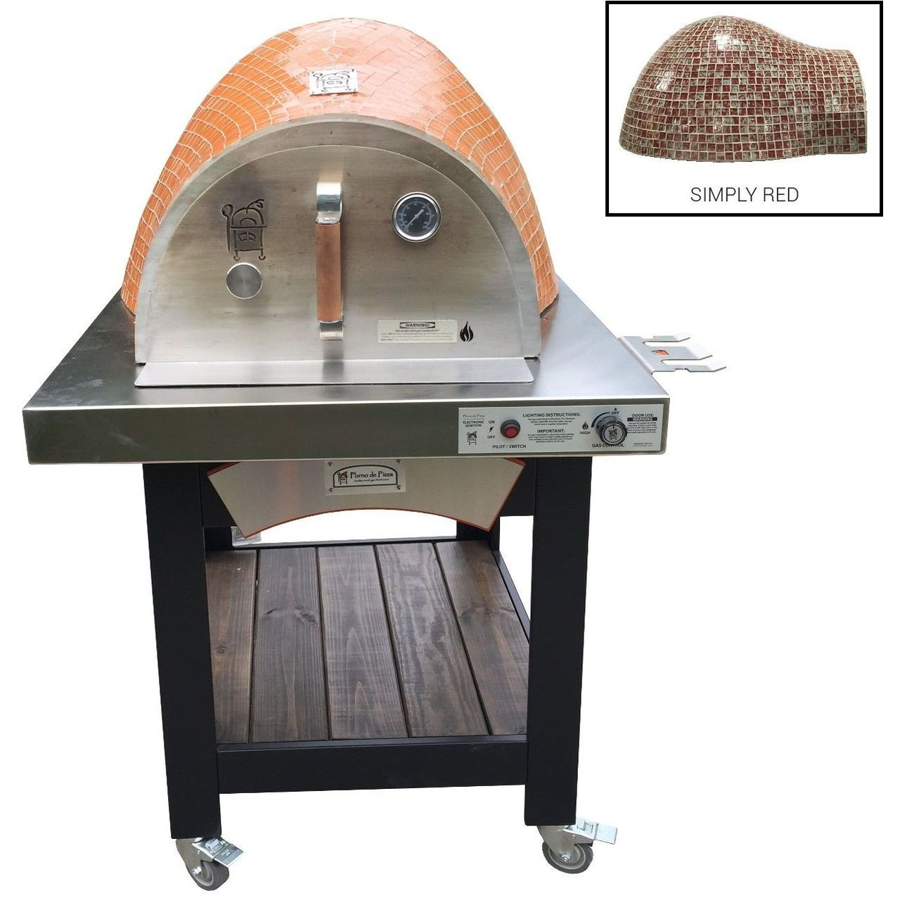 HPC Forno Hybrid Gas/Wood Oven With EI & Cart in Simply Red - NG