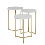 Modern Wood Set of 3 Nesting Tables - Faux White Marble/Gold