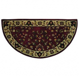 Red W/ Beige Hand-Tufted 100% Wool Hearth Rug