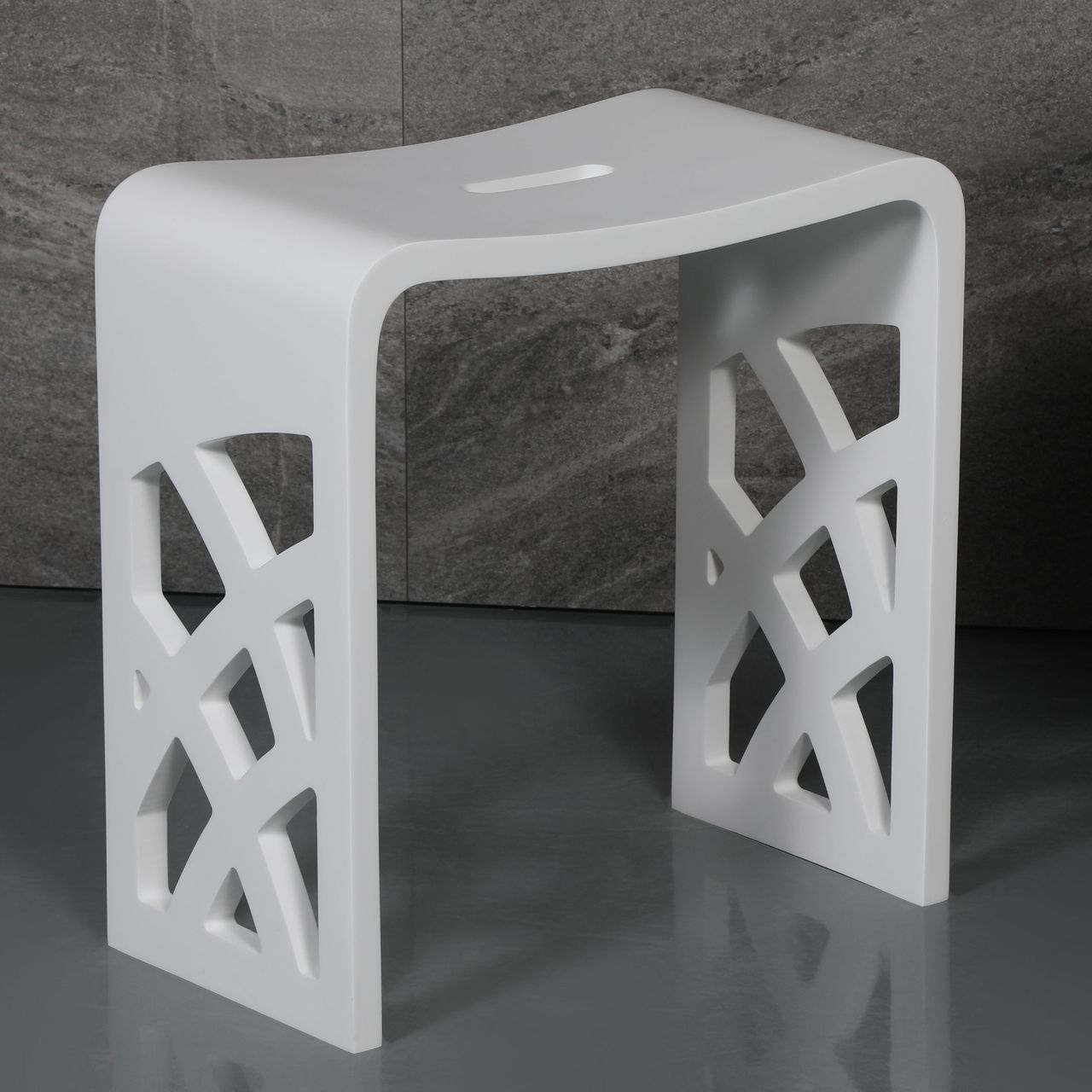 ALFI Designer White Matte Solid Surface Resin Bathroom / Shower Stool
