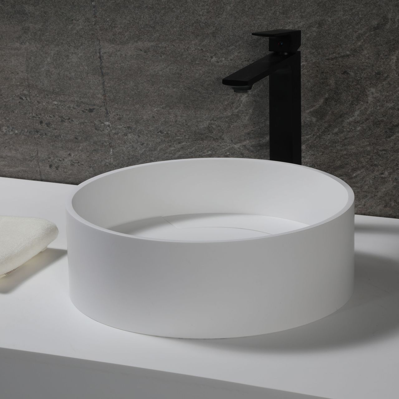 """ALFI 15"""" Round White Matte Solid Surface Resin Sink"""