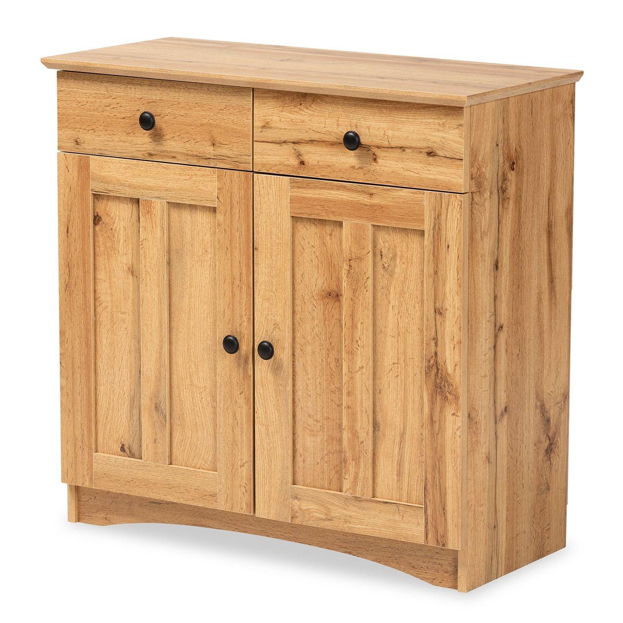 Baxton Studio Lauren 2-Door Buffet Kitchen Cabinet - Oak Brown