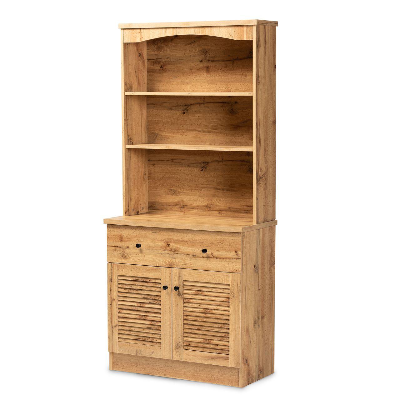 Baxton Studio Agni Buffet and Hutch Kitchen Cabinet - Oak Brown