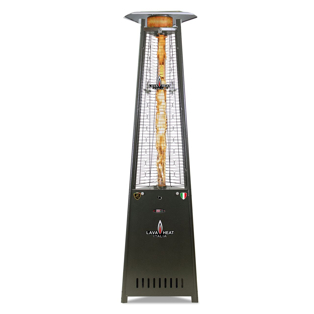 Lava Heat LP 2G PRO Triangle Flame Tower Heater - Hammered Grey