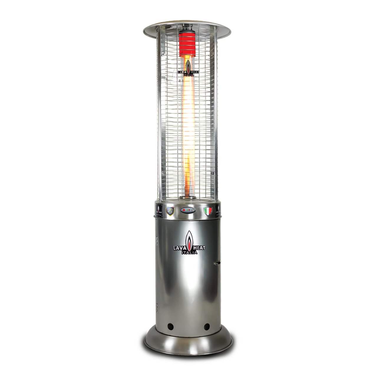 Lava Heat LP OPUSlite Round Flame Tower Heater - Stainless Steel