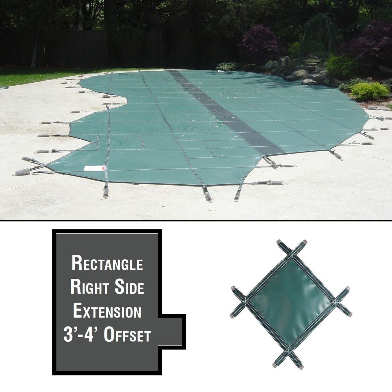 PermaGuard 22'x42' Rectangular Pool Cover Plus Right Ext 3' Offset