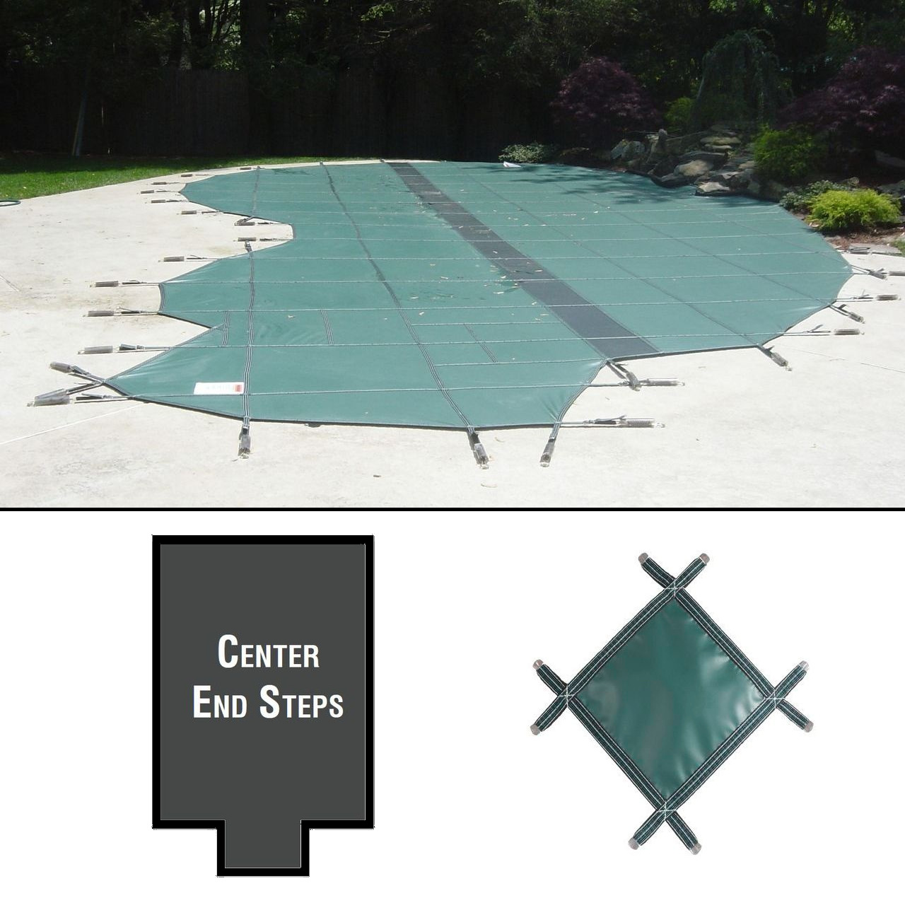 PermaGuard 22'x42' Rectangular Pool Cover With 3'x10' Center Steps