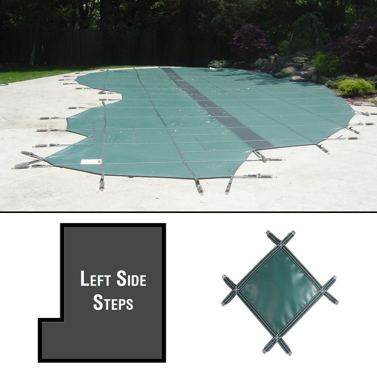 PermaGuard 22'x42' Rectangular Pool Cover With 4'x12' Left Side Steps