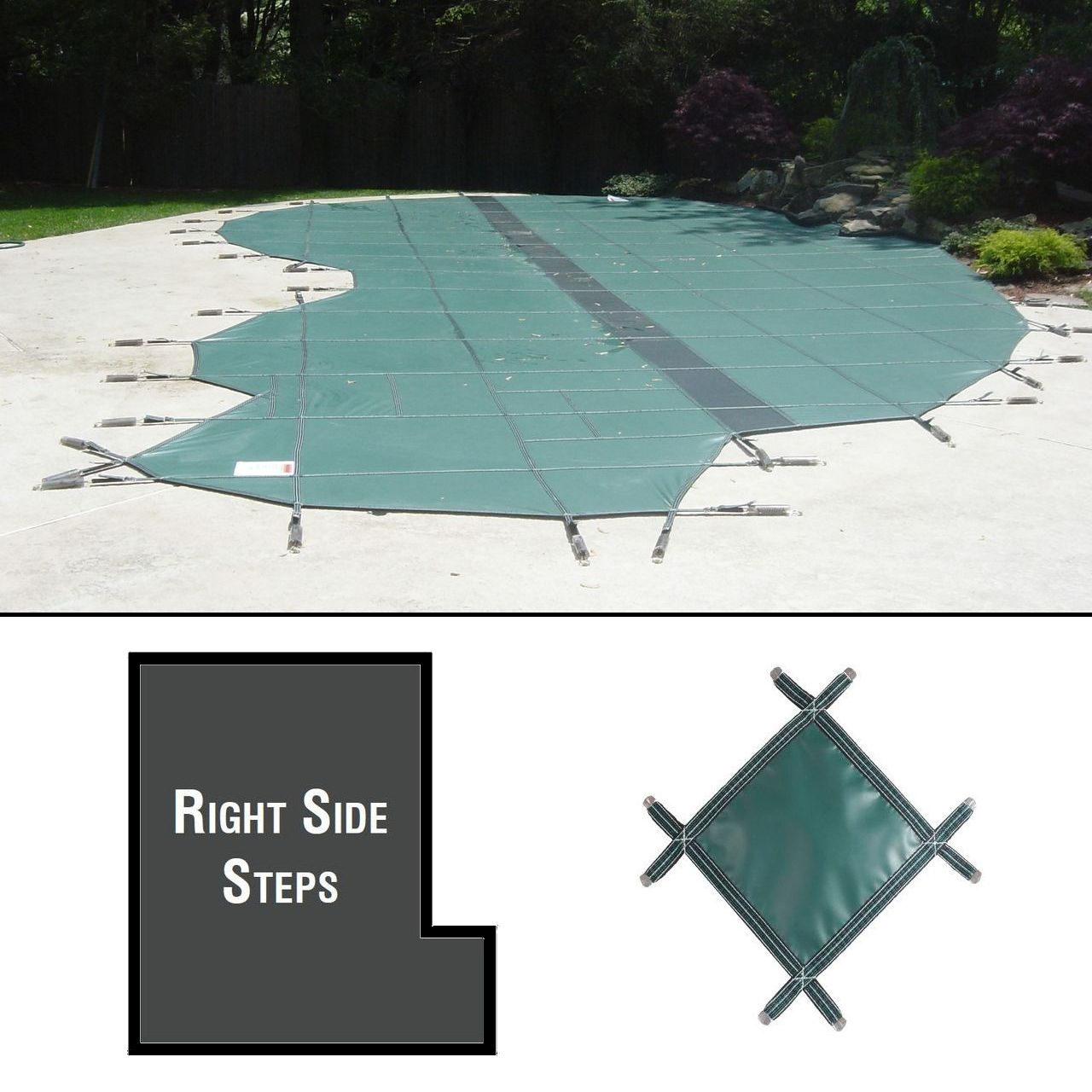 PermaGuard 22'x42' Rectangular Pool Cover With 4'x12' Right Side Steps