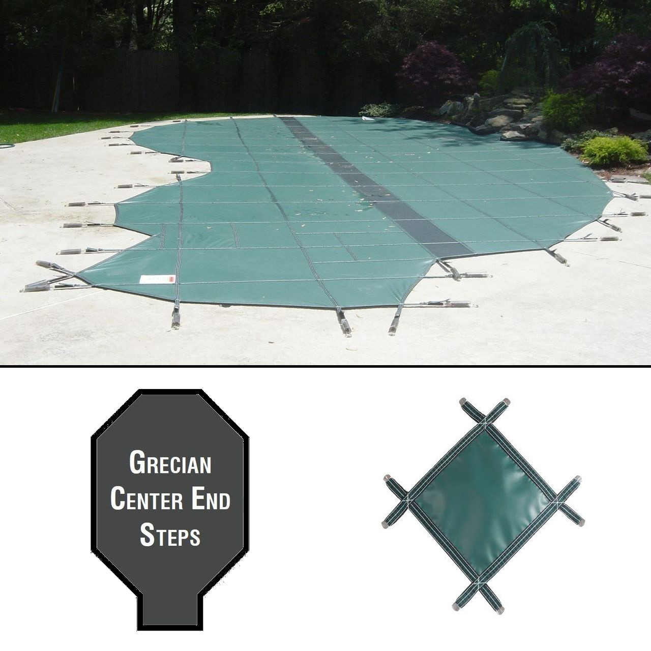 PermaGuard 23'x42' Grecian Pool Cover With 4'x11' Center End Steps