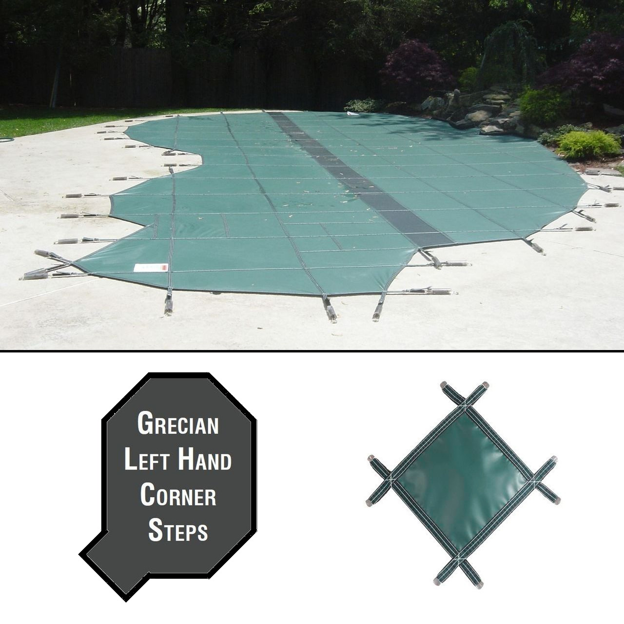 PermaGuard 23'x42' Grecian Pool Cover With 4'x11' Left Corner Steps