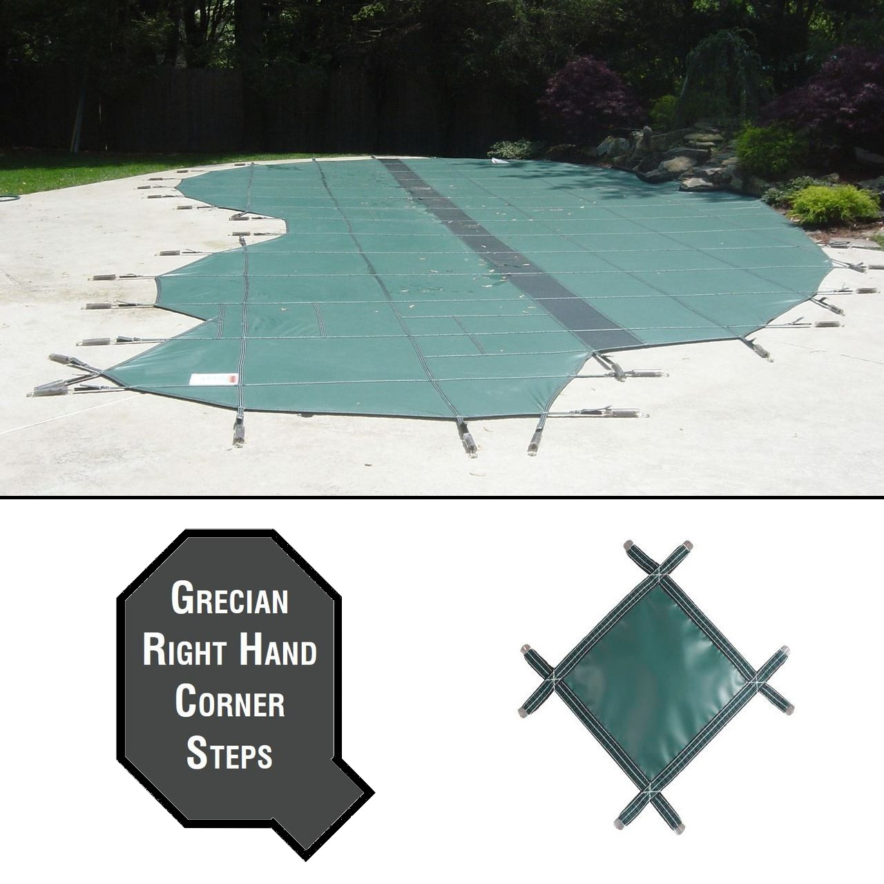 PermaGuard 23'x42' Grecian Pool Cover With 4'x11' Right Corner Steps