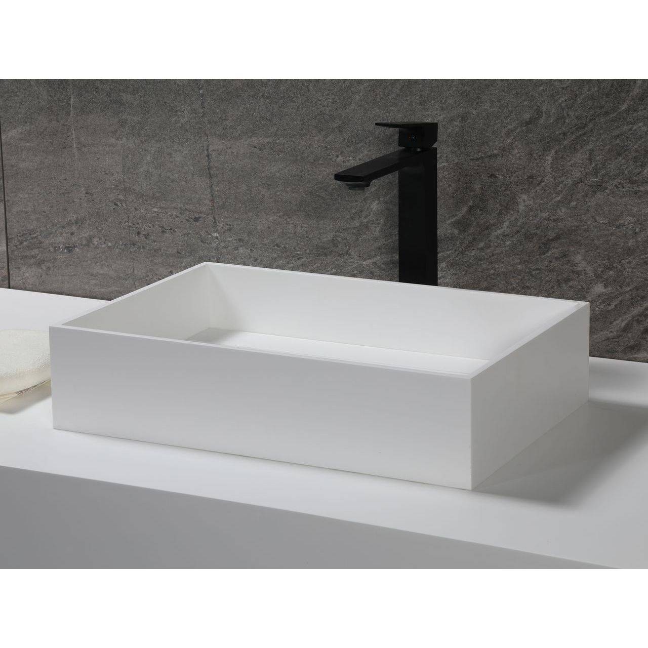 """ALFI 20""""x14"""" White Matte Solid Surface Resin Sink"""