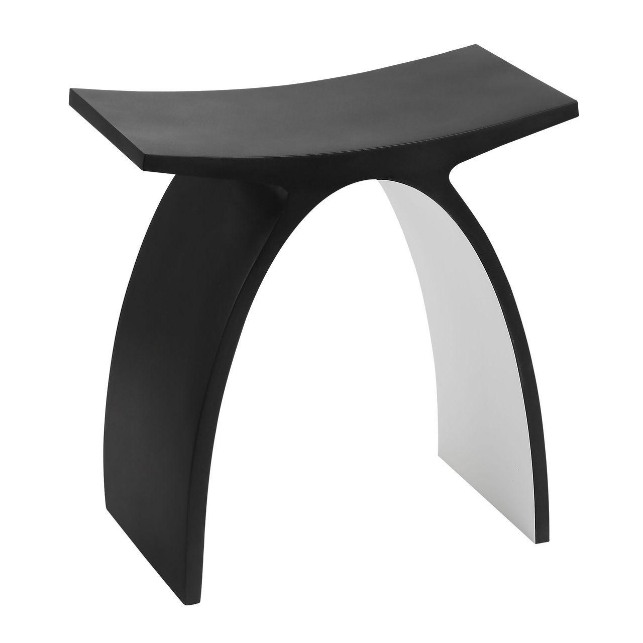 ALFI Black Matte Arched Solid Surface Resin Bathroom / Shower Stool