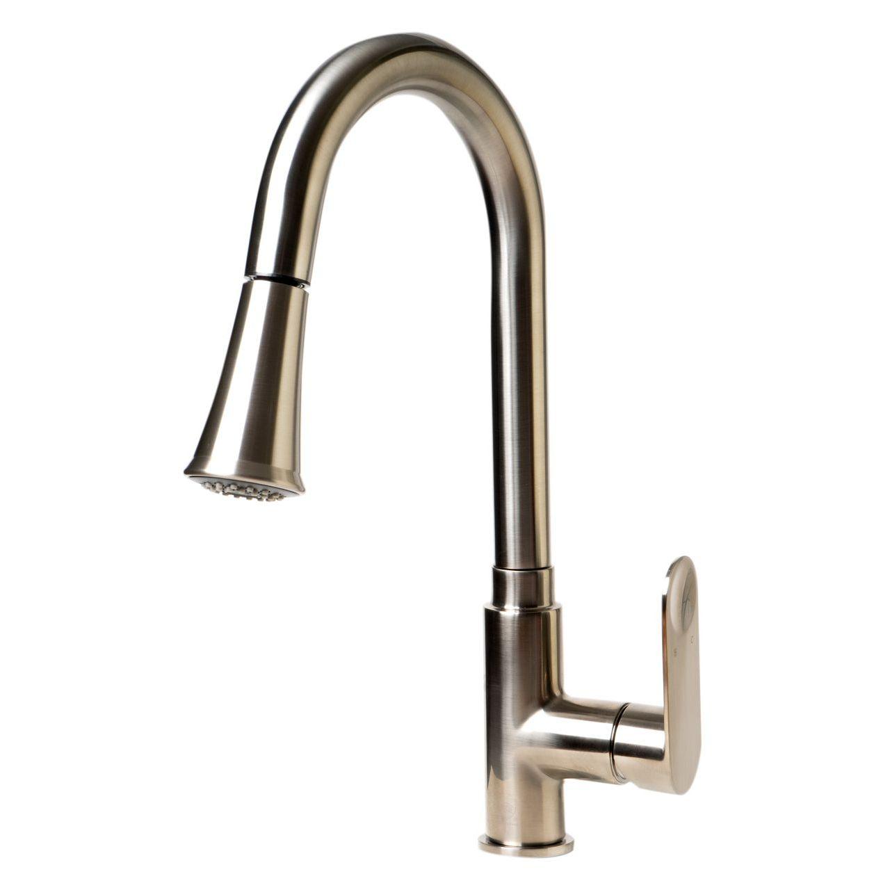 ALFI Brushed Nickel Gooseneck Pull Down Kitchen Faucet