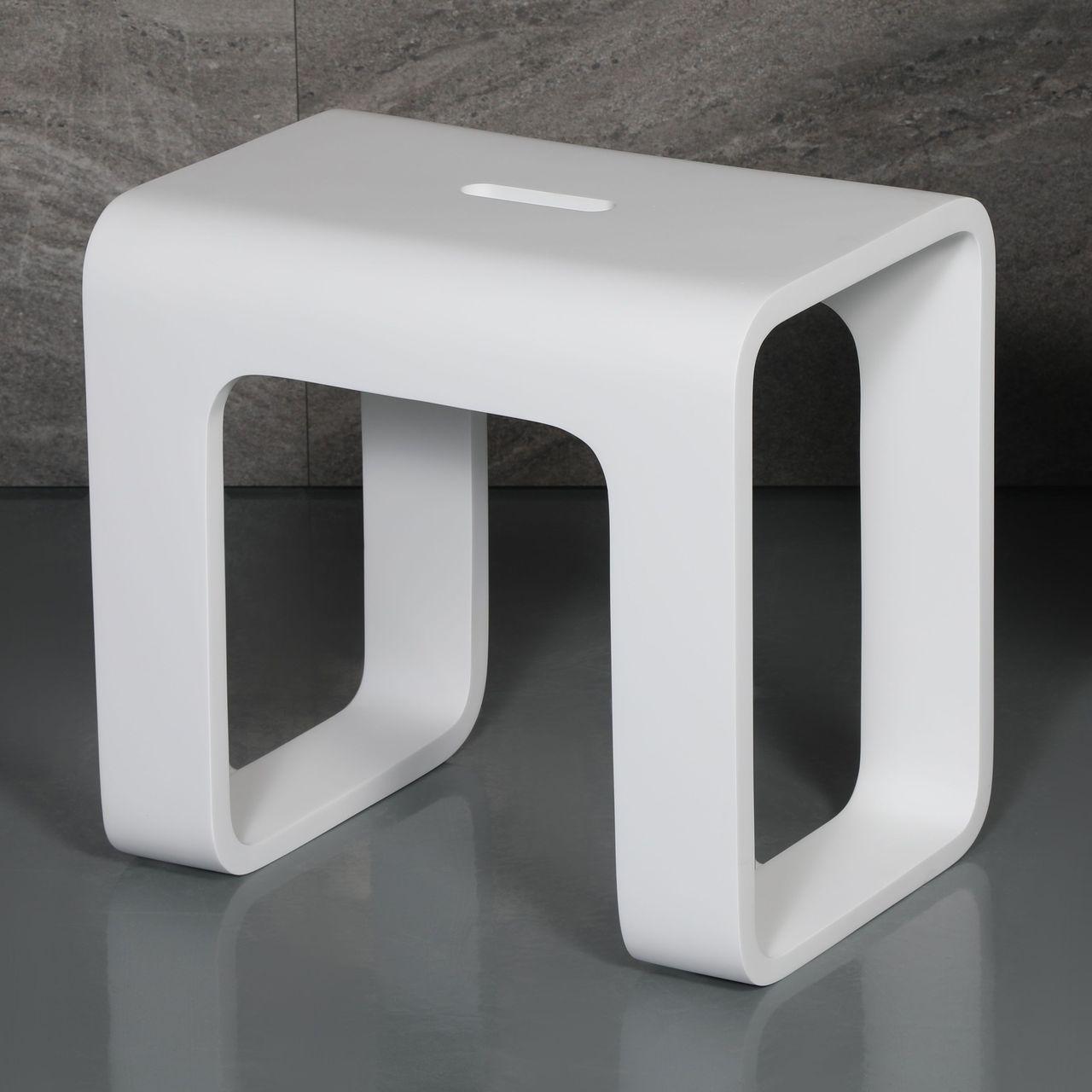 ALFI White Matte Solid Surface Resin Bathroom / Shower Stool