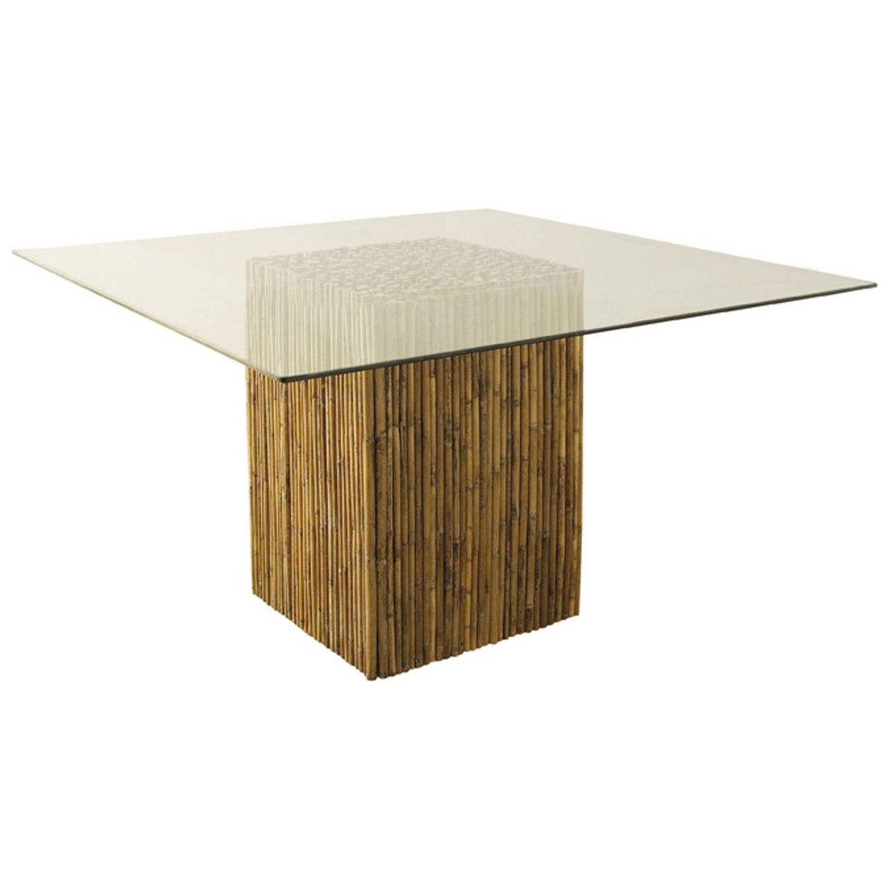 Padma Bamboo Stick Dining Table Base With Glass