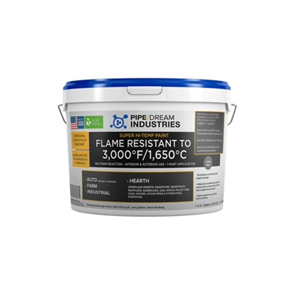 Pipedream Super-High Temp Stove Paint to 3,000°F. (Eco-Friendly + Ultra-Low VOC) - 5 Gallon