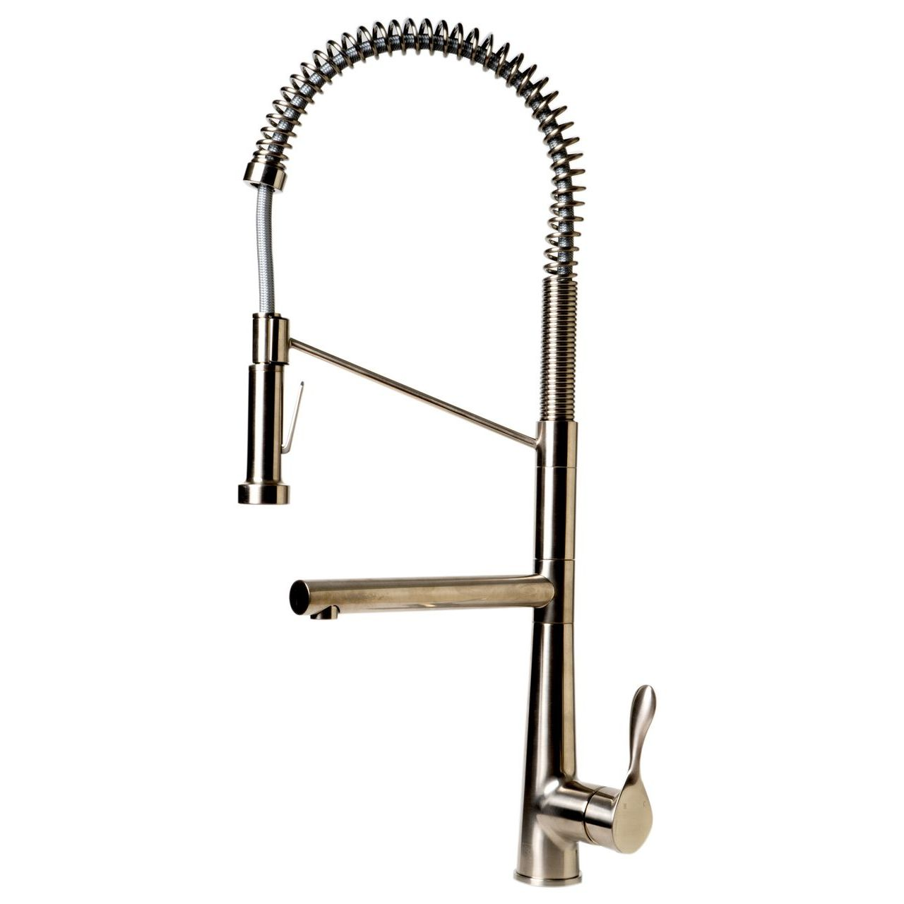 ALFI Brushed Nickel Double Spout Commercial Spring Kitchen Faucet
