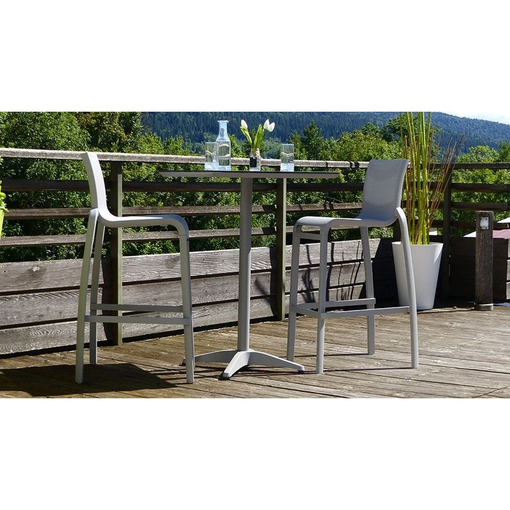 Grosfillex Sunset Armless Barstool in Solid Gray/Platinum Gray - 2/pk