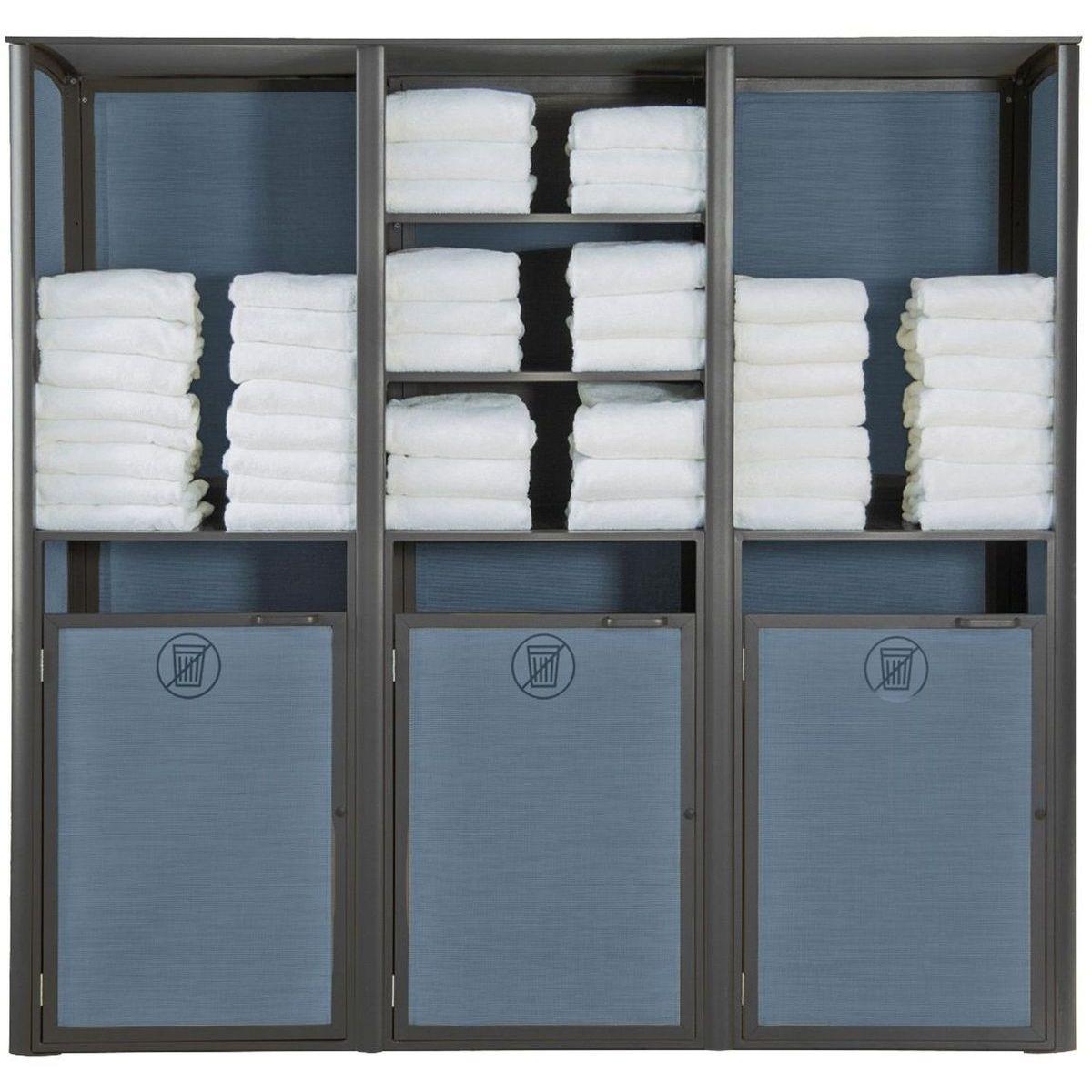 Grosfillex Sunset Towel Valet Triple Unit in Blue/Volcanic Black