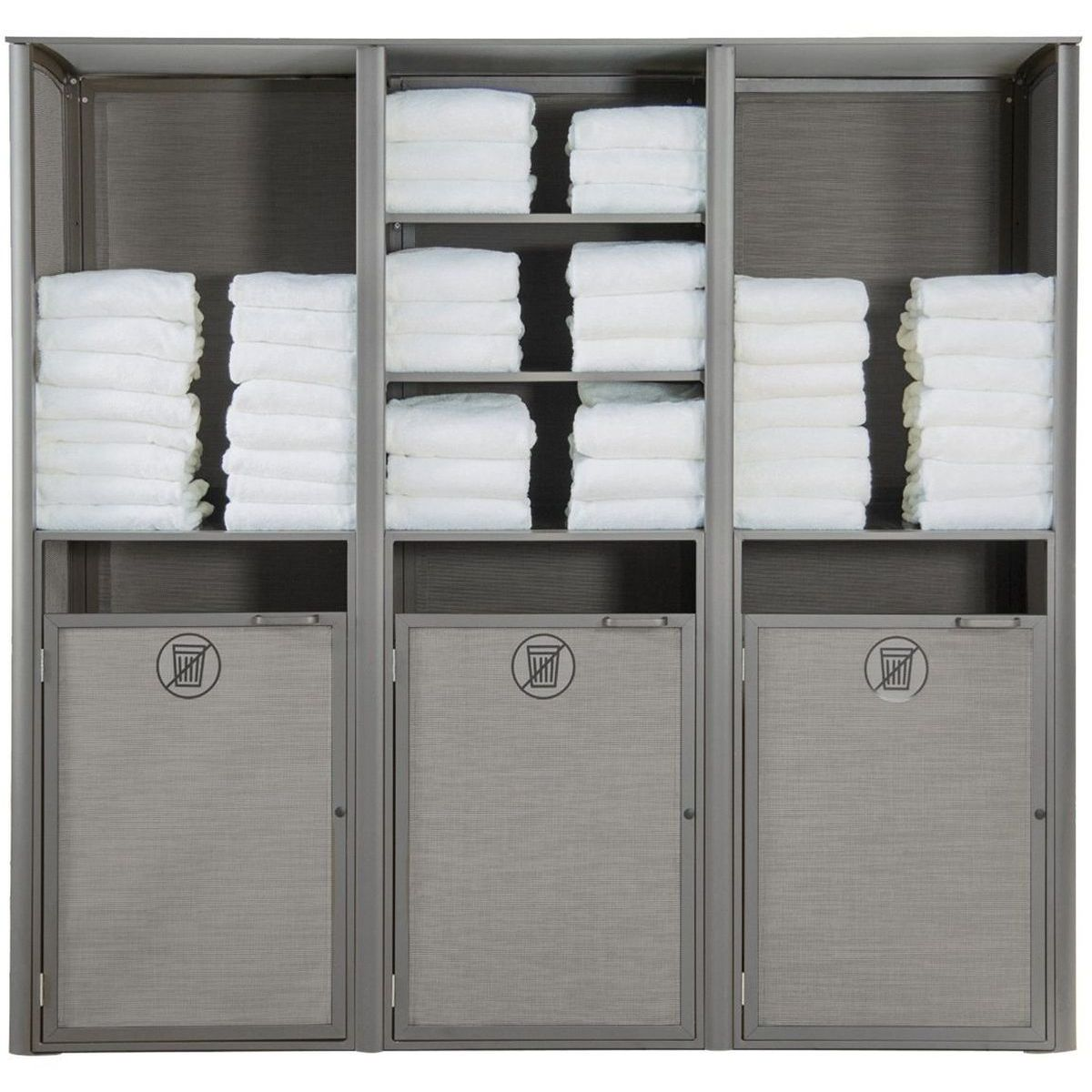 Grosfillex Sunset Towel Valet Triple Unit in Solid Gray/Platinum Gray