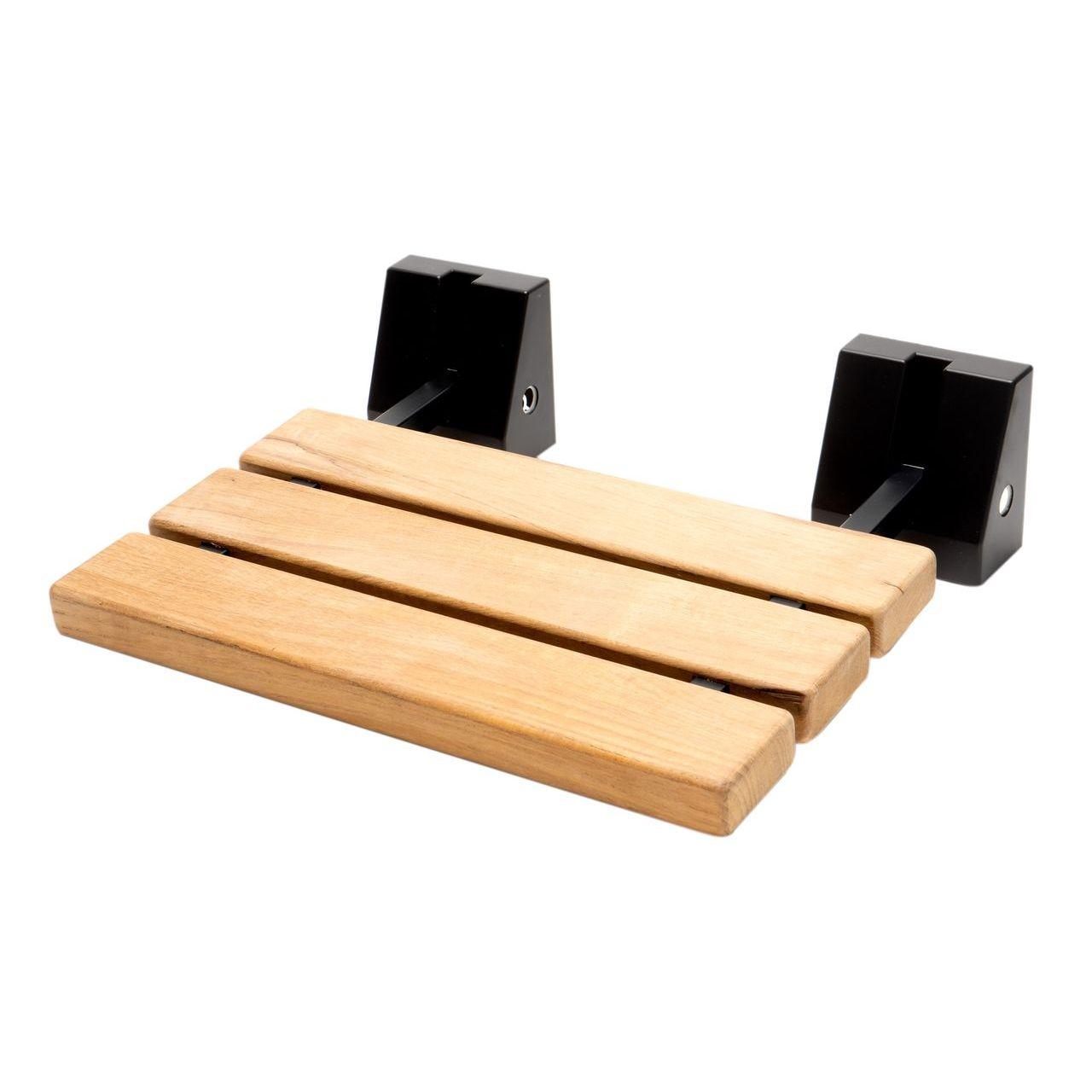 "ALFI 16"" Black Matte Foldable Teak Shower Seat with Square Hardware"