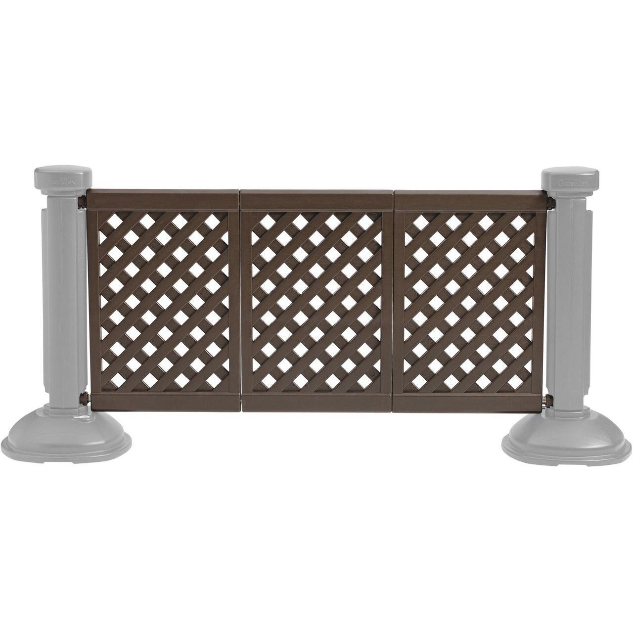 Grosfillex 3-Panel Section of Portable Fencing in Brown
