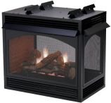 "Premium VF MV Peninsula 36"" Fireplace with 24"" Rock Creek Logset - NG"