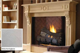 "Superior 42"" VF Paneled Gas Firebox w/Ivory Herringbone Brick Liner"