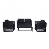 Siesta 4PC Wicker All-Weather Conversation Sofa Set w/Cushions - Black