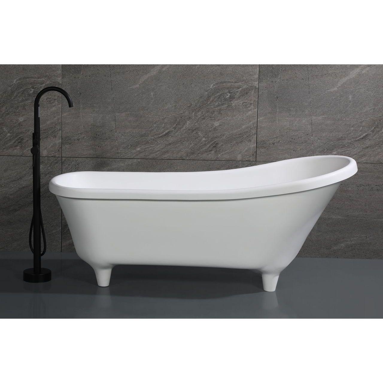 "ALFI 67"" White Matte Clawfoot Solid Surface Resin Bathtub"