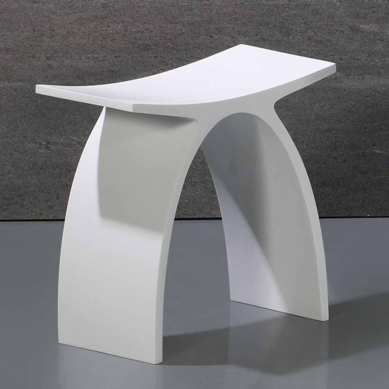 ALFI Arched White Matte Solid Surface Resin Bathroom / Shower Stool