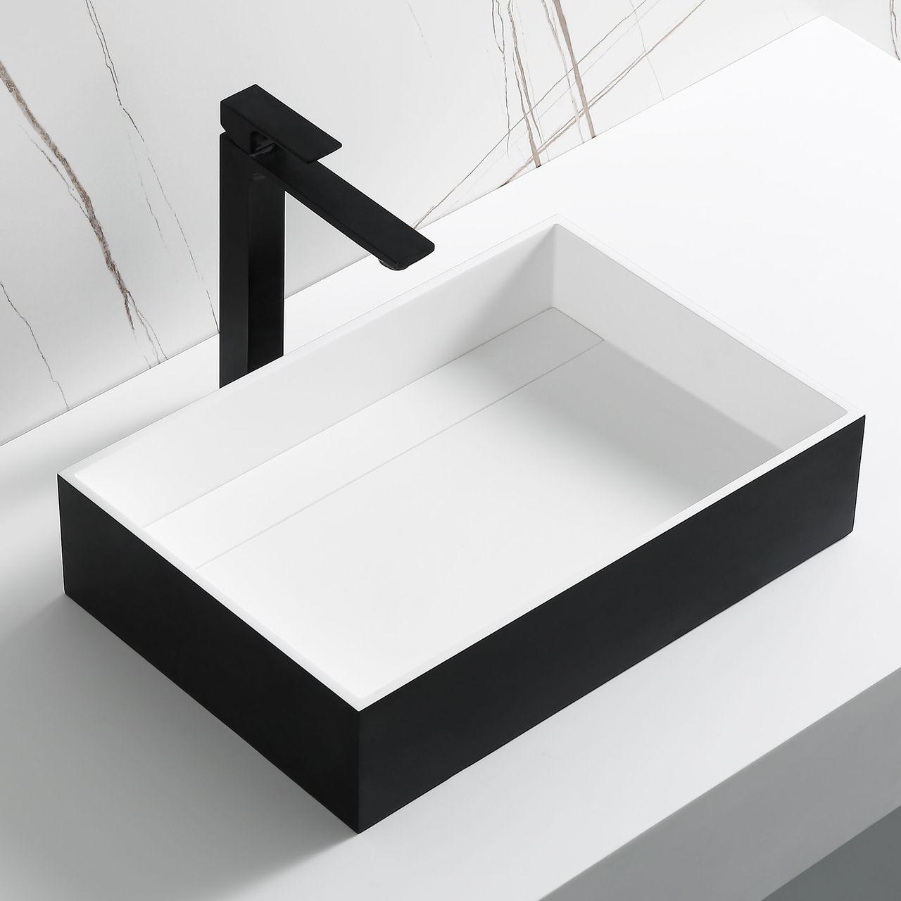 "ALFI 20""x14"" Black Matte Solid Surface Resin Sink"